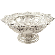 "Antique Victorian Sterling Silver 10"" Bowl - 1898"