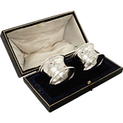 Pair of Antique Sterling Silver Napkin Rings in Box 1911