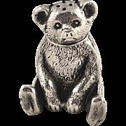 Super Antique Edwardian Sterling Silver Novelty Bear Pepper Pot 1909