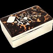 Antique Victorian Sterling Silver & Inlaid Tortoiseshell Trinket Box 1895