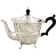 Antique Edwardian Sterling Silver Teapot - 1904 - Birds & Animals