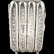 Antique Edwardian Sterling Silver 4 Section Cigar Case 1906