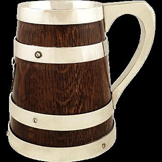 Antique Victorian Oak & Silver Plated Pint Mug / Tankard c1880