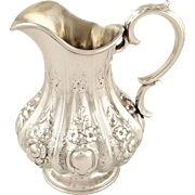 Antique Early Victorian Sterling Silver Jug 1853