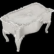 Antique Edwardian Sterling Silver 'Angels' Trinket / Jewelry Box 1902