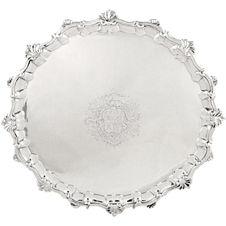 """Antique George ll Sterling Silver 13"""" Salver / Tray 1754 - William Peaston"""