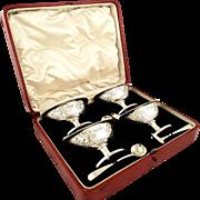 Set 4 Antique Sterling Silver Salt Cellars 1797 - Double Duty