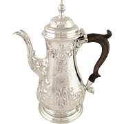 Antique Georgian Sterling Silver Coffee Pot 1759