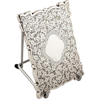 Antique Victorian Sterling Silver Card Case 1895