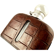 "Antique Crocodile Leather & Silver Plated 6"" Hip Flask c1900"