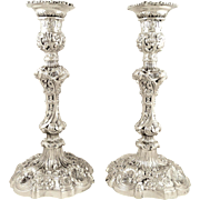 """Pair of Antique Georgian Sterling Silver 11"""" Candlesticks 1825"""