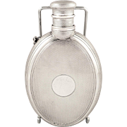 "Antique Victorian Sterling Silver 5"" Hip Flask - 1869 - Unusual Lid"