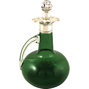 Antique Edwardian Green Glass & Sterling Silver 'Ship' Decanter 1902