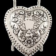 Antique Edwardian Sterling Silver Heart Trinket Box 1901