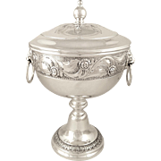 """Antique Sterling Silver 10"""" Cup & Cover / Trophy 1930 - Lion Head Handles"""
