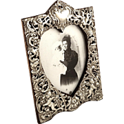 Antique Victorian Sterling Silver Photo Frame 1893 - Cherubs & Flowers