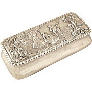Antique Edwardian Sterling Silver Ring Box - 1902 - Serenading Scene