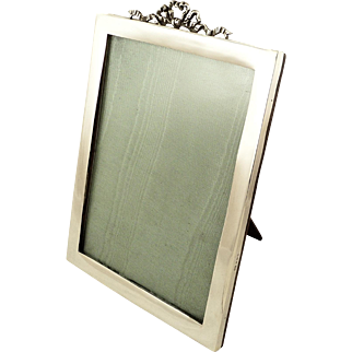 """Large Antique Sterling Silver 10"""" x 7"""" Photo Frame 1923"""