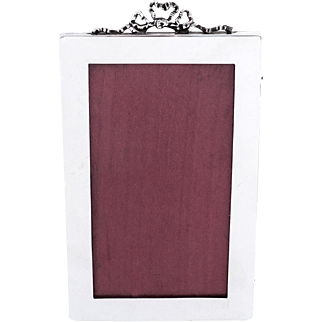 Antique Sterling Silver Bow / Ribbon Photo Frame 1926