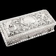 Antique Victorian Sterling Silver 'Bird' Trinket Box - Goldsmiths 1895