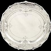 "Antique Victorian Sterling Silver 10"" Tray / Salver - 1845 Joseph Angell I & Joseph Angell II"
