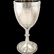 """Antique Edwardian Sterling Silver 9"""" Wine Goblet 1904"""