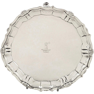 """Antique Georgian Sterling Silver 6"""" Tray 1742"""