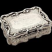 Heavy Antqiue Victorian Sterling Silver Snuff Box 1856