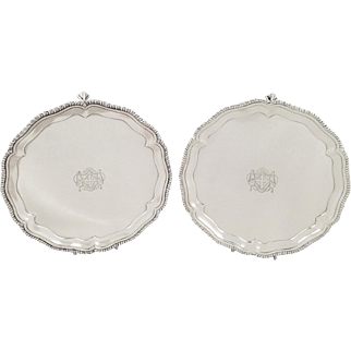 """Pair of Antique Georgian Sterling Silver 8"""" Trays / Salvers 1768"""