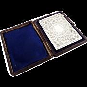 Antique Victorian Sterling Silver Card Case in Presentation Case 1878