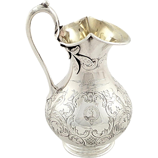 Antique Early Victorian Sterling Silver Jug 1852 - Birds & Leaves