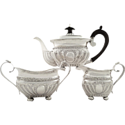 Antique Victorian Sterling Silver 3 Piece Bachelor Teaset 1888