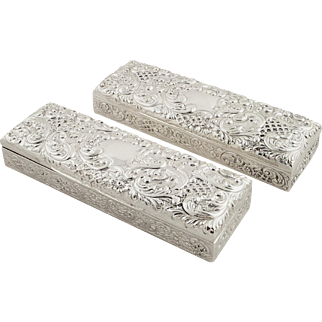 Pair of Antique Victorian Sterling Silver Trinket Boxes - Goldsmiths 1895