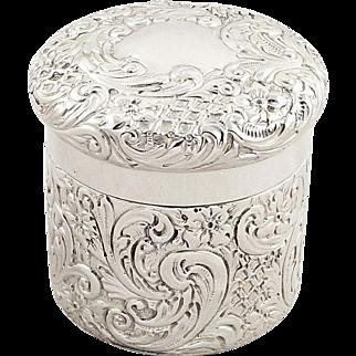 Antique Sterling Silver Vanity Pot / Box - Goldsmiths 1915