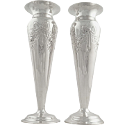 Pair of Antique Sterling Silver Mappin & Webb Vases 1901