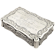 Antique Early Victorian Sterling Silver Snuff Box 1843 - United Friendly Society of Anderston