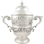 Huge Antique Victorian Sterling Silver Horse Racing Trophy 1892 - The Hill Cup