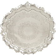 "Antique Edwardian Sterling Silver 11"" Tray / Salver 1902"