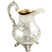 Antique Victorian Sterling Silver Jug 1877