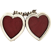 Antique Victorian Sterling Silver Double Heart Photo Frame 1896