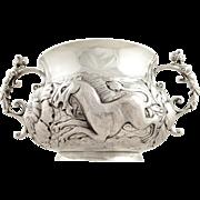 Unusual Antique Britannia Silver Bowl 1914 - Unicorn & Lion
