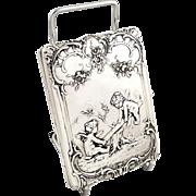 Antique Victorian Sterling Silver Aide Memoire/Card Case 1898 - Cherub Scene