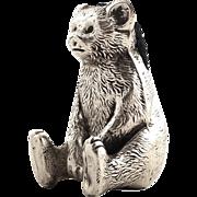Antique Sterling Silver Sitting Bear / Teddy Pin Cushion 1917