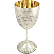 Antique Victorian Sterling Silver Trophy / Goblet 1875 - Oldham Best Stallion