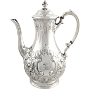 Antique Victorian Sterling Silver 3 Pint Coffee Pot - 1884 Fisherman Crest