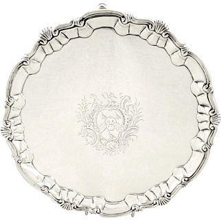 Antique George II Sterling Silver Salver / Tray 1752 - William Peaston