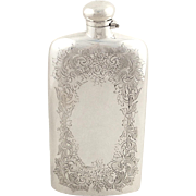 Antique Victorian Sterling Silver Hip Flask 1893