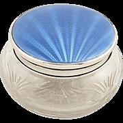 Antique Sterling Silver & Blue Enamel Vanity Jar - Walker & Hall 1938