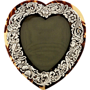 Antique Victorian Sterling Silver & Tortoiseshell Heart Photo Frame 1893