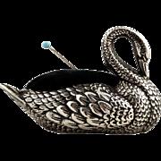 Antique Edwardian Sterling Silver Swan Pin Cushion 1906